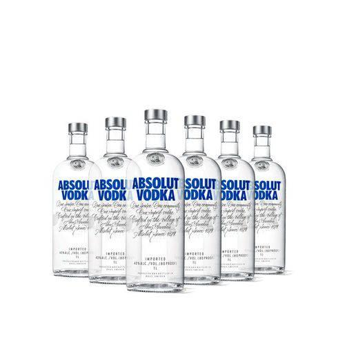 6x Vodka Absolut Original 1l