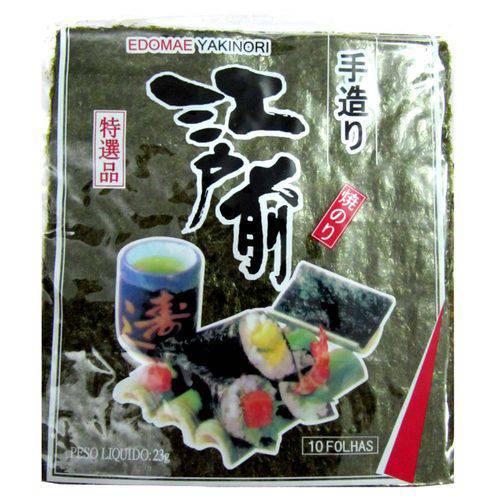 Alga Marinha Nori para Sushi e Temaki com 10 Folhas Edomae - 23 Gramas
