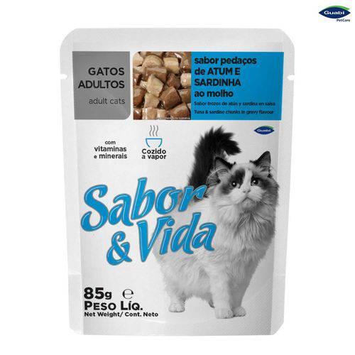 Alimento Sabor & Vida Gatos Adultos Pedaços de Atum & Sardinha ao Molho Sache 85gr