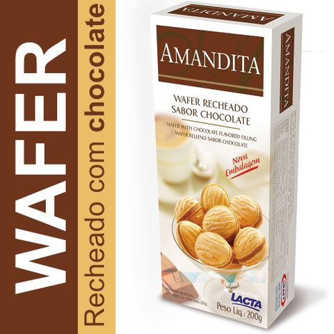 Amandita Wafer Recheado Chocolate 200g - Lacta