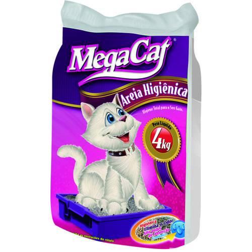 Areia HIGIÊNICA para Gatos Mega Cat - 4 Kg Caixa C/ 5 Unid