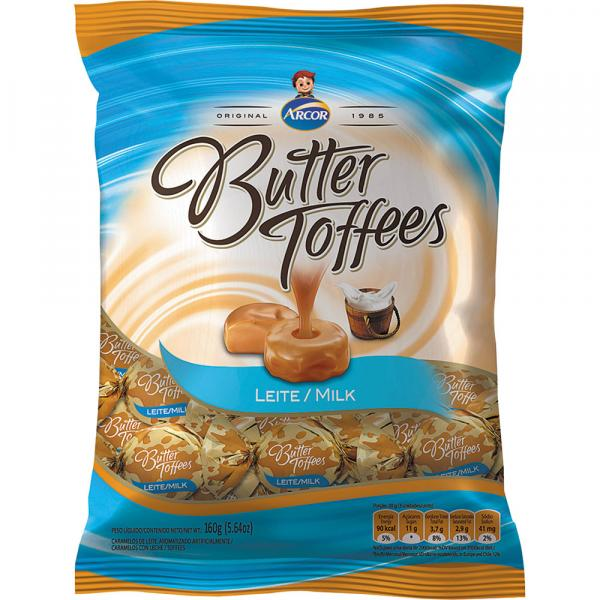 Bala Butter Toffees Arcor 130g Leite - Arcor