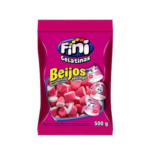 Bala de Gelatina Beijos de Morango Fini