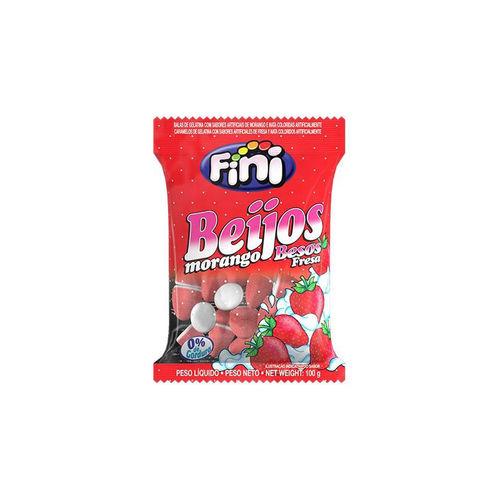 Bala de Gelatina Fini Beijos Morango Pacote 100 G