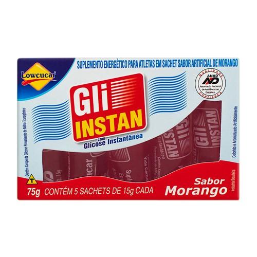 Bala Líquida Gli-Instan com Glicose Instantânea Sabor Morango com 5 Sachês de 15g