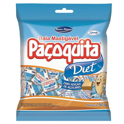 Bala Mastigável Paçoquita Diet 50g - Santa Helena