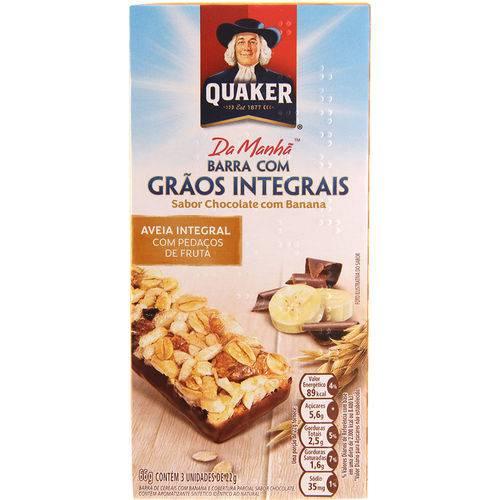 Barra com Grãos Integrais Quaker Chocolate com Banana 3 Unidades - 66g