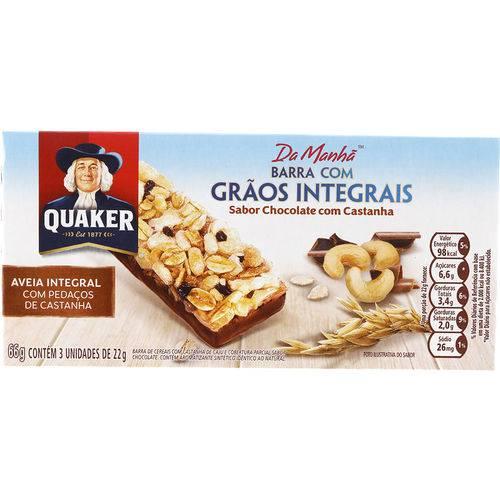 Barra com Grãos Integrais Sabor Chocolate e Castanha 66g - Quaker