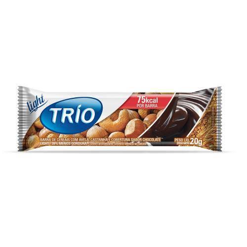 Barra de Cereais Trio Avelã e Castanha com Chocolate Light 1 Unidade de 20g