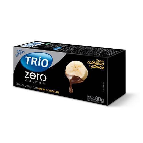 Barra de Cereais Trio Banana com Chocolate Zero Açúcar 3 Unidades de 20g