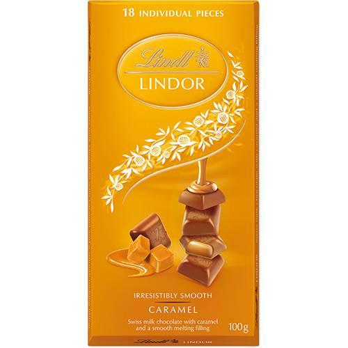 Barra de Chocolate Suíço Caramelo Lindt 100g