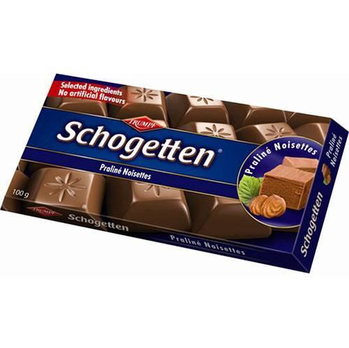 Barra em Porções de Chocolate Tipo Nougat Praline 100g - Schogetten