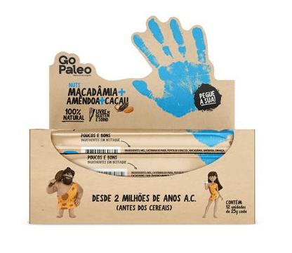 Barra Go Paleo Macadamia Amendoa e Cacau 12x25g - Super Saude