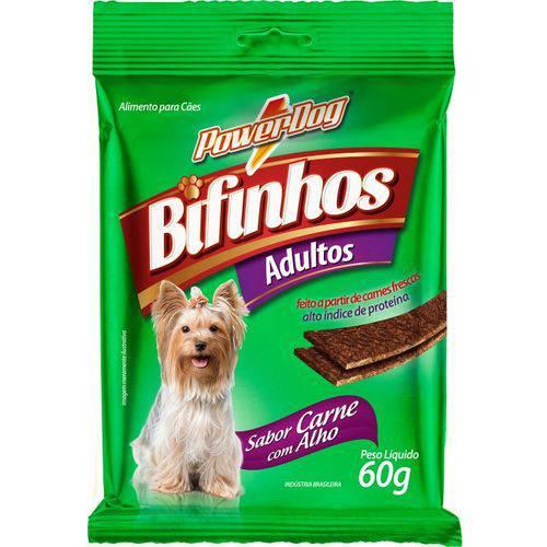 Bifinho para Cães Powerdog Adulto Carne C/ Alho 60 Gr