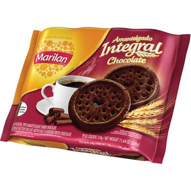 Biscoito Amanteigado Integral Sabor Chocolate Marilan 330g