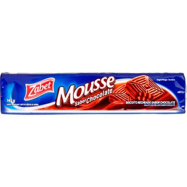 Biscoito Recheado Sabor Mousse de Chocolate Zabet 145g