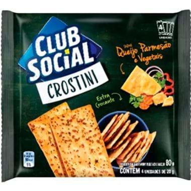 Biscoito Salgado Crostini Sabor Queijo Parmesão e Vegetais Club Social 80g