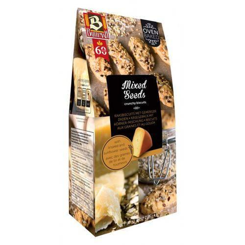 3 Caixas de Biscoito com Queijo Gouda e Sementes 75g - Buiteman