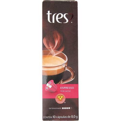 Cápsula de Café Tres com 10 Unidades de 8g Espresso Vibrante