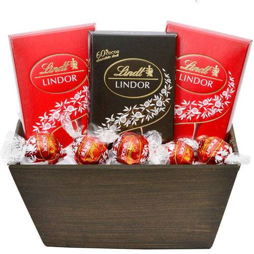 Cesta de Chocolate Suíço para Presente - Lindt