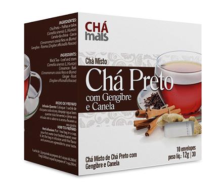 Chá Preto com Gengibre e Canela - Chá Mais - 10 Sachês - 12g