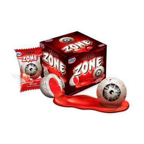 Chicle Zone Olhos do Terror com Recheio Líquido Morango 40 Un - Especial Guloseimas para o Halloween - Catelândia