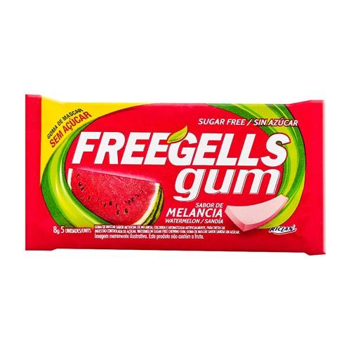Chiclete Freegells Gum Melancia Sem Açúcar 8g com 5 Unidades