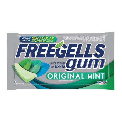 Chiclete Freegells Gum Original Mint Sem Açúcar 8g com 5 Unidades