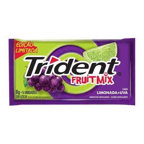 Chiclete Trident Fruit Mix Limonada e Uva 8g 5 Unidades Edição Limitada