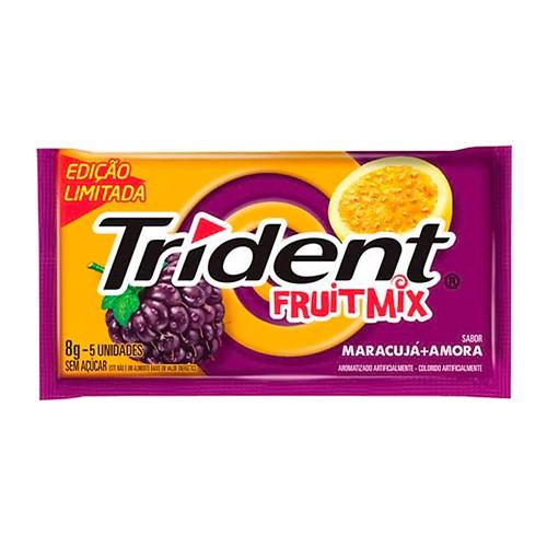 Chiclete Trident Fruit Mix Maracujá e Amora 8g 5 Unidades Edição Limitada