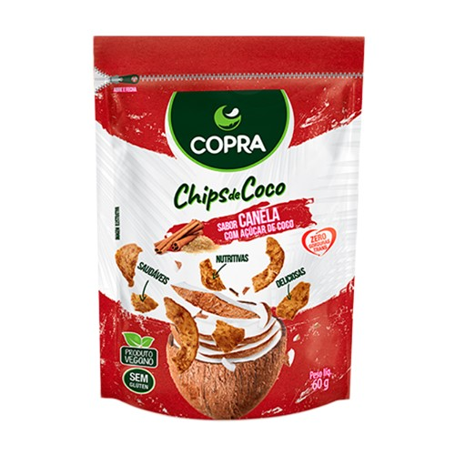 Chips de Coco Copra Canela com Açúcar de Coco 60g