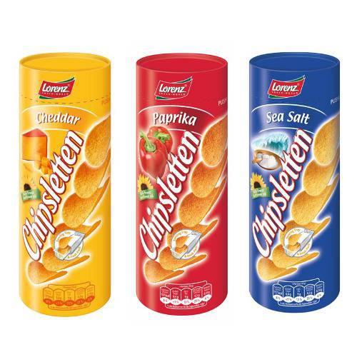 3 Chipslettens Nos Sabores( Cheddar, Paprica e Sal Marinho).