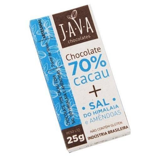 Chocolate 70% com Sal do Himalaia e Amendoas 25g - Java Chocolates