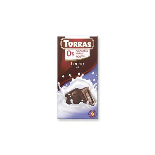 Chocolate ao Leite 75g - Sem Açúcar - Sem Glúten - Torras
