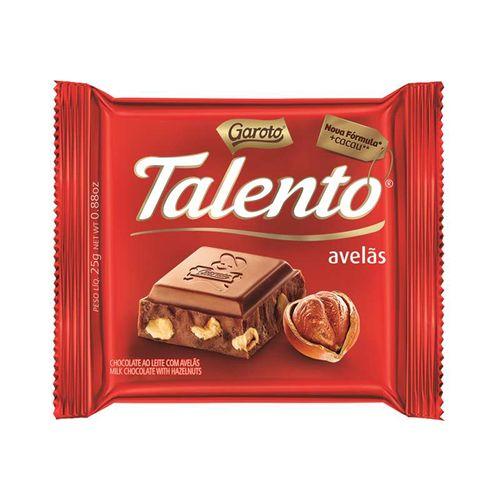 Chocolate GAROTO TALENTO ao Leite com Avelãs 25g Chocolate Talento Diet Avela 25g