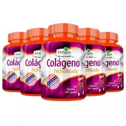 Colágeno Hidrolisado com Vitamina C - 5x 120 Cápsulas - Katigua
