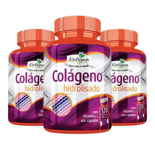 Colágeno Hidrolisado com Vitamina C - 3x 120 Cápsulas