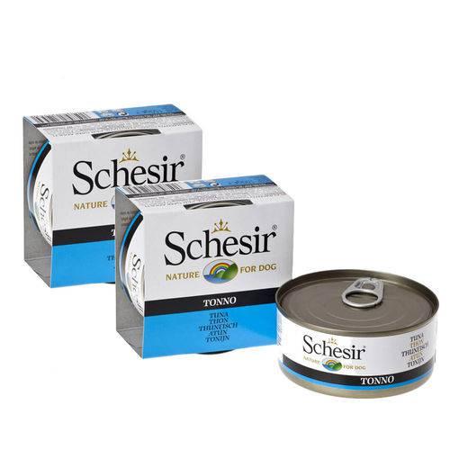 Combo Ração Úmida Natural Lata Schesir Atum para Cães - 150g