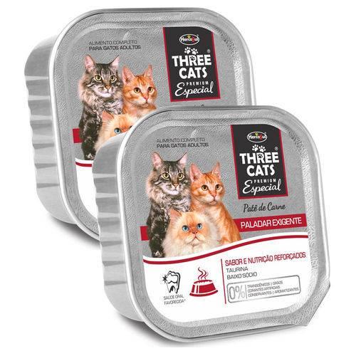 Combo Ração Úmida Patê Three Cats Premium Especial Paladar Exigente 90g