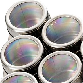 Conjunto 6 Potes para Condimentos com Suporte Imantado Edu - Prata