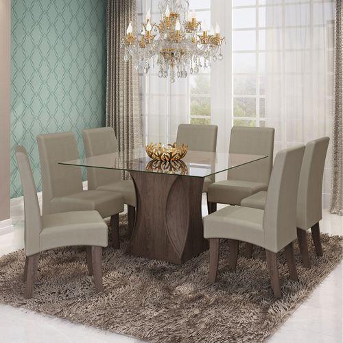 Conjunto Sala de Jantar Mesa Andréia 8 Cadeiras Milena Cimol Marrocos/caramelo