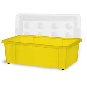 Container 30 Litros com Roda Amarelo e Tampa Natural