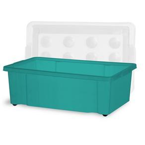 Container 30 Litros com Roda Azul Turquesa com Tampa Natural