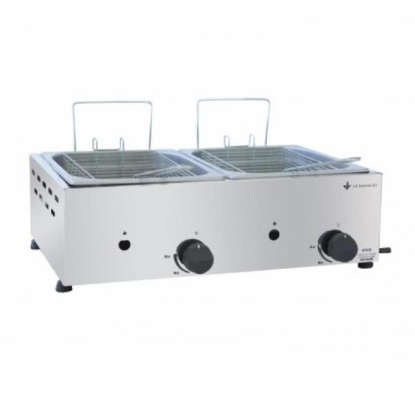 Fritadeira a Gás 2 Cubas 5 Litros Cada em Aço Inox - Venâncio