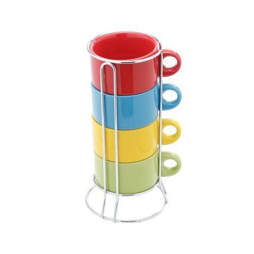 Jogo 4 Xícaras Café Porcelana 200ml Colorida com Suporte