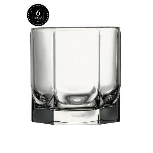 Jogo C/6 Copos de Vidro Whisky 5 Faces 280ml Original Line