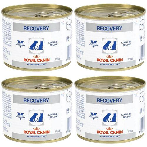 Kit 04un Alimento Úmido Recovery Royal Canin Cães Gatos 195g