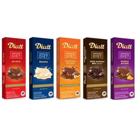 Kit 5 Tabletes 25g Chocolate Diet - Diatt