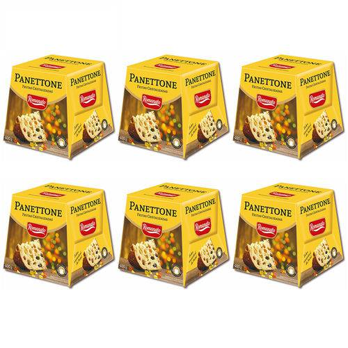Kit 6 Panettones Frutas Cristalizadas 400g - Romanato