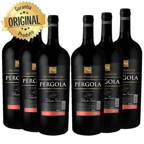 Kit 6 Vinho Nacional Pergola Tinto Suave 1l